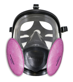 Full face mask with XP100 pancake filter (purple)